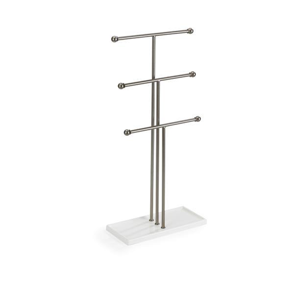 Umbra Trigem 18.88-in x 4-in x 9-in White Nickel Jewelry Stand
