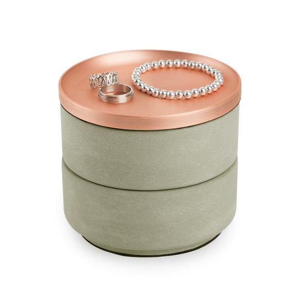 Umbra Tesora 4.25-in x 5-in x 5-in Concrete Copper Jewelry Box