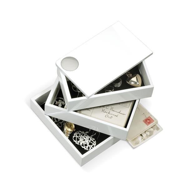Umbra Spindle 5-in x 4.75-in x 7.50-in White Storage Jewelry Box