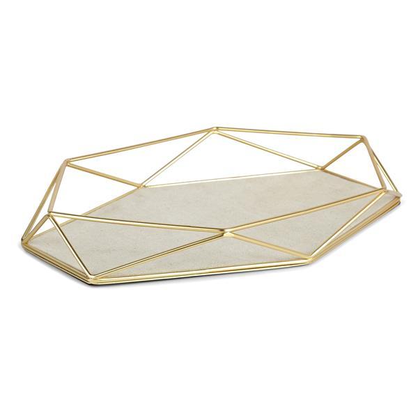 Umbra Prisma 1.57-in x 7.28-in x 11-in Matte Brass Jewelry Tray