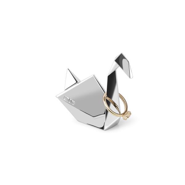 Porte-bagues cygne Origami, chrome