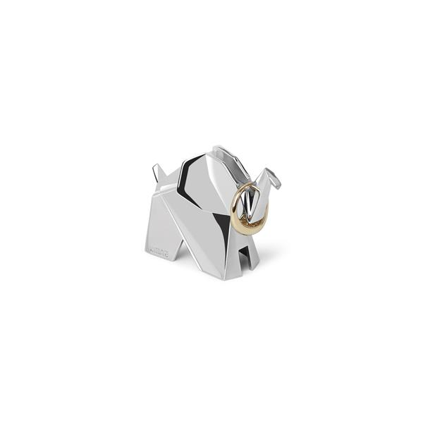 Porte-bagues élephant Origami, chrome
