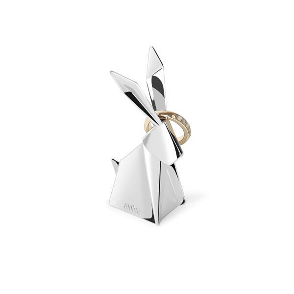Porte-bagues lapin Origami, chrome