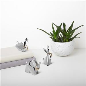 Porte-bagues animaux Origami, chrome