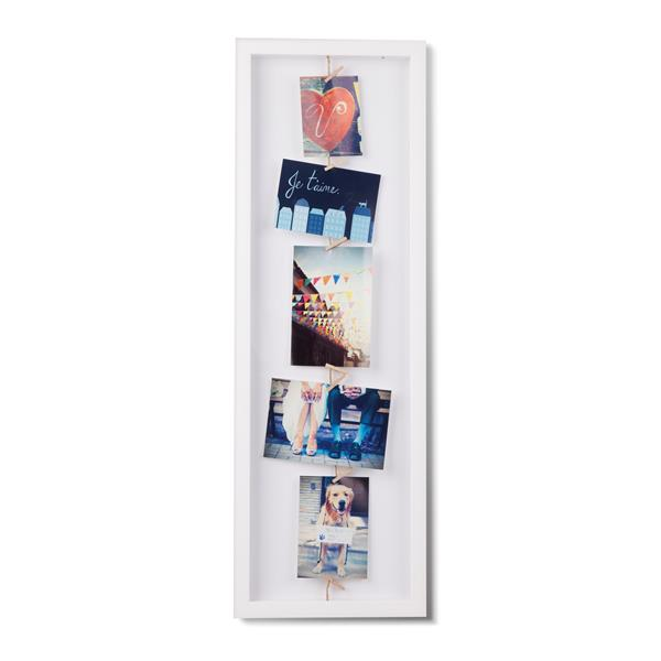 Umbra White 1.63-In x 9.5-In x 28.5-In Wood Clothesline Flip Photo Display