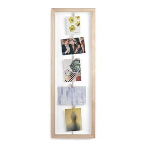 Umbra Brown 1.63-In x 9.5-In x 28.5-In Wood Clothesline Flip Photo Display