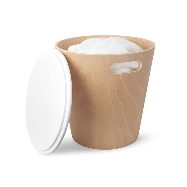 Umbra Woodrow White/Natural Storage Stool