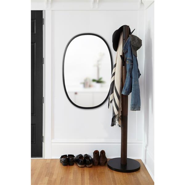 Miroir Ovale Hub, noir