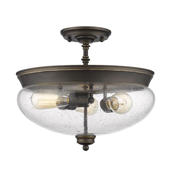 """Semi-plafonnier, 3 lumières Amon, Bronze Antique, 15""""x13.5"""""""