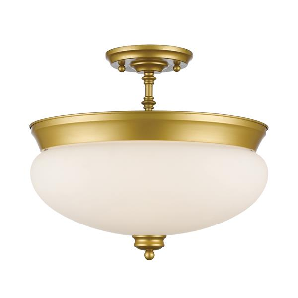 Z-Lite Amon 3-Light Satin Gold 15-in x 15-in x 13.50-in Semi Flush Mount