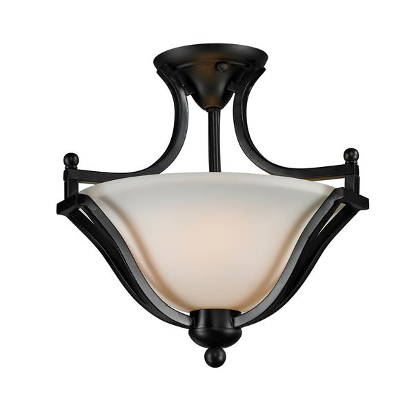 Z-Lite Lagoon 2-Light Bronze 15-in x 15-in x 14.75-in Semi-Flush Mount