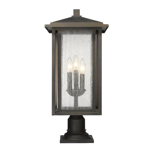 Luminaire extérieur sur socle Aspen, 3 lumières, Bronze