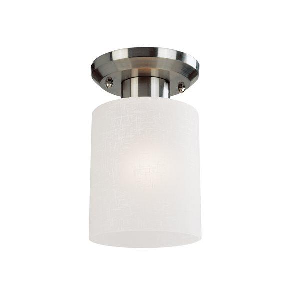 Z-Lite Cobalt 5-in x 8-in Brushed Nickel 1-Light Flush Mount Light