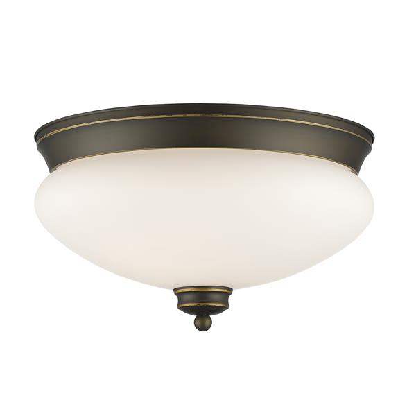 Z-Lite Amon 13-in x 13-in x 7.5-in Old Bronze 2 Light Flush Mount