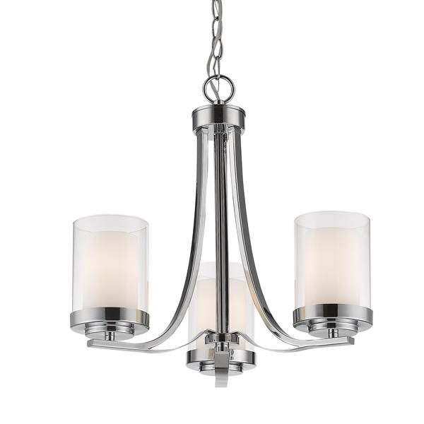 Z-Lite Willow Chrome 16-in 16-in 17.5-in 3-Light Chandelier