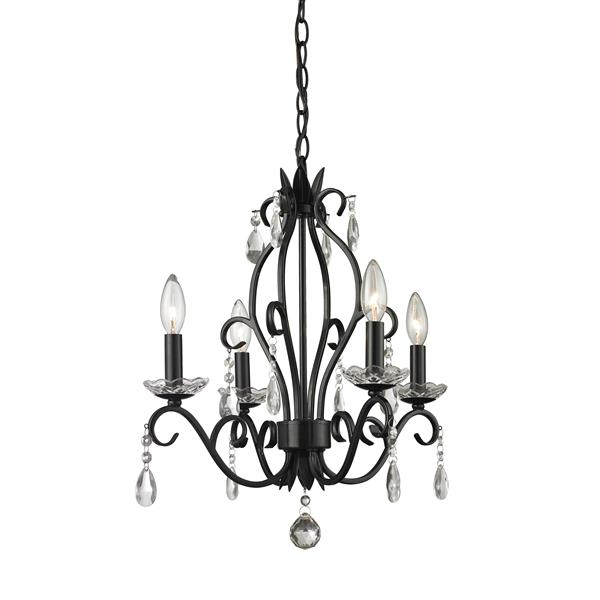 Z-Lite Princess 4-Light 17.12-in x 20.62-in Matte Black Chandelier