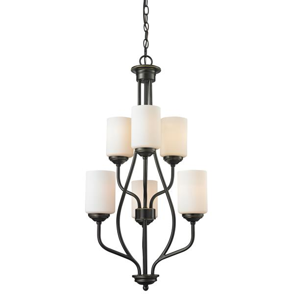 Z-Lite Cardinal 18-in x 33-in Old Bronze 6 Light Chandelier