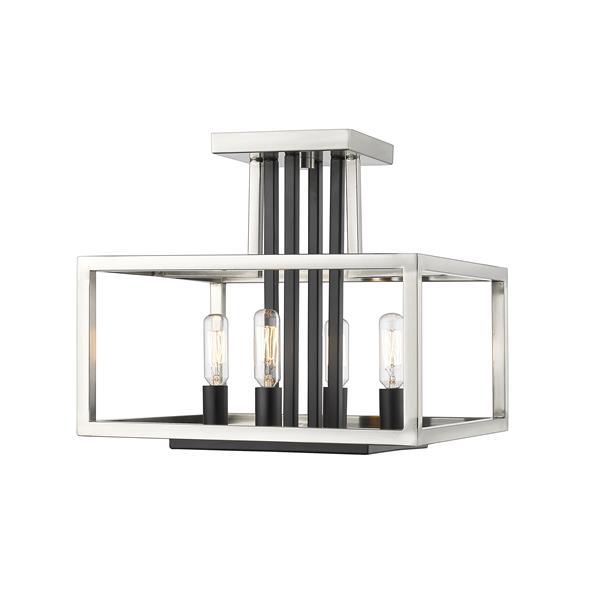 Z-Lite Quadra 4-Light Brushed Nickel and Black 12-in x 13-in x 12-in Semi-Flush Mount
