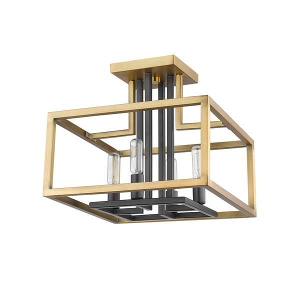 Semi-plafonnier Quadra, 4 lumières,  Laiton Antique/Bronze