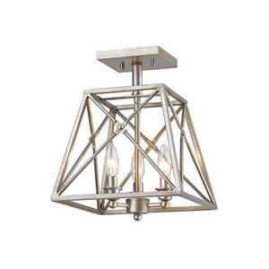 Semi-plafonnier Tressle, 3 lumières, Argent antique