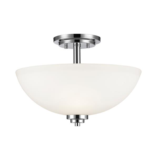 Z-Lite Ashton 3-Light Chrome 15.75-in x 15.75-in x 11-in Semi-Flush Mount
