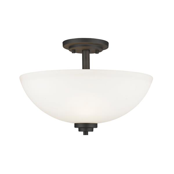 Z-Lite Ashton 3-Light Bronze 15.75-in x 15.75-in x 11-in Semi-Flush Mount