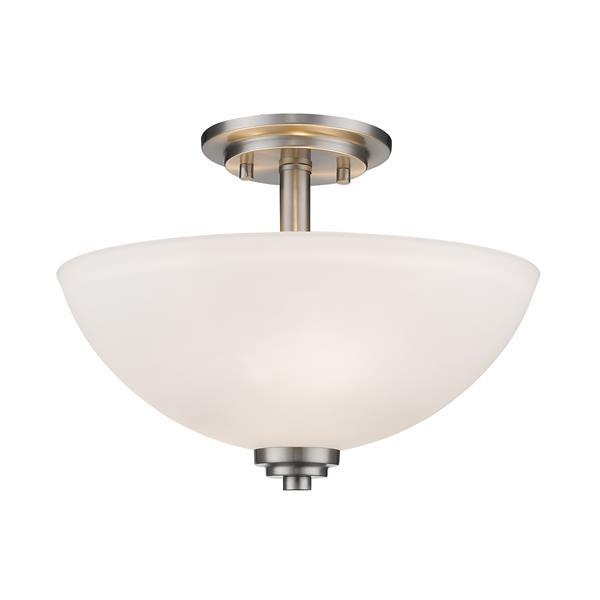 Z-Lite Ashton 3-Light Brushed Nickel 15.75-in x 15.75-in x 11-in Semi-Flush Mount