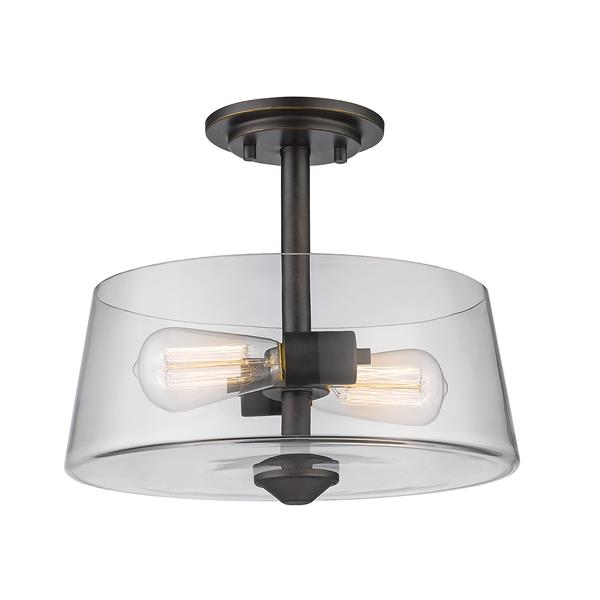 Z-Lite Annora 2-Light Bronze 12-in x 12-in x 10-in Semi Flush Mount