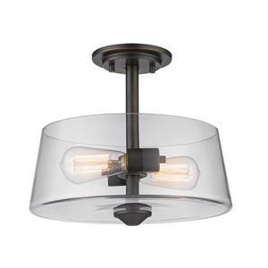 "Semi-plafonnier Annora, 2 lumières, Bronze Antique 12""x10"""