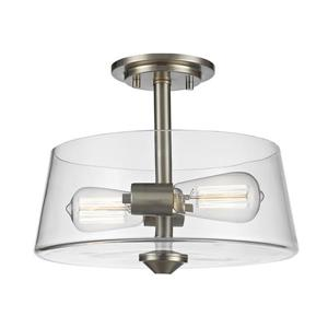 Z-Lite Annora 2-Light Brushed Nickel 12-in x 12-in x 10-in Semi Flush Mount