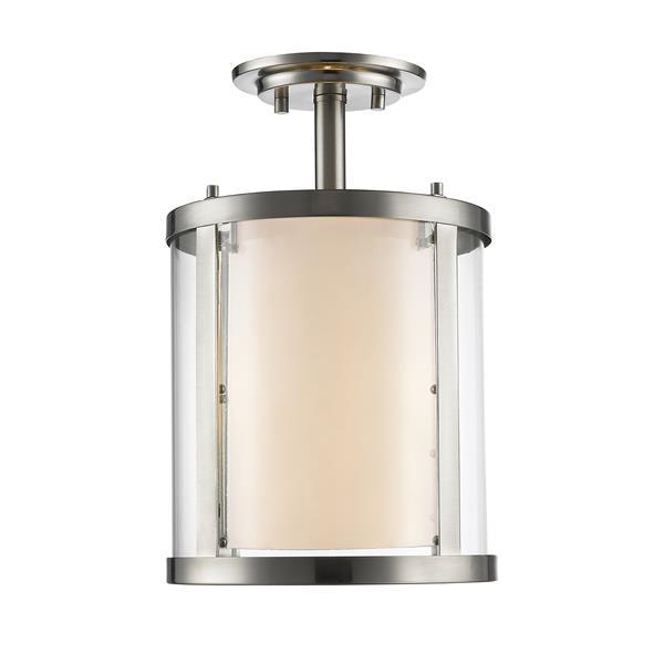 Z-Lite Willow 3-Light Brushed Nickel 9-in x 9-in x 14-in Semi-Flush Mount