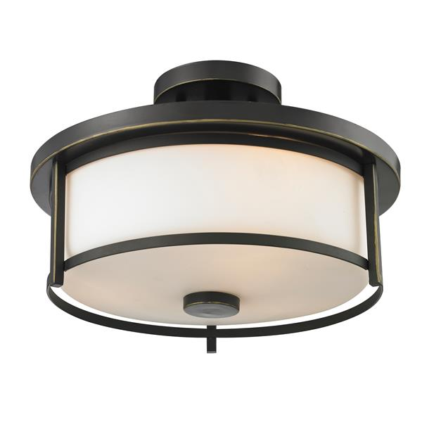 Z-Lite Savannah 2-Light Bronze 13.75-in x 13.75-in x 9.75-in Semi-Flush Mount