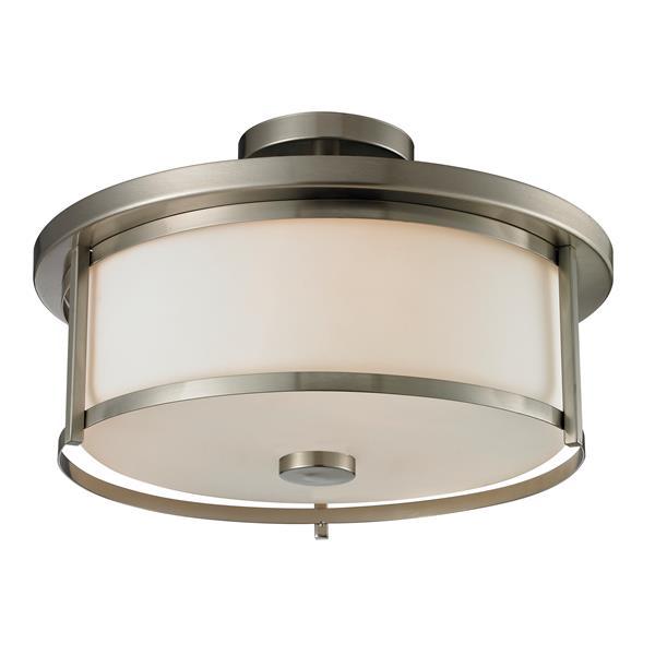 Semi-plafonnier Savannah,  3 lumières, Nickel Brossé