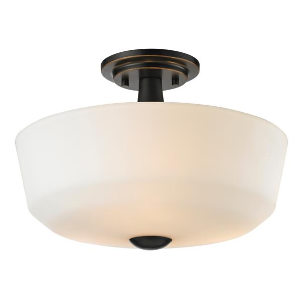 Z-Lite Montego 3-Light Bronze 14.62-in x 14.62-in x 10.37-in Semi-Flush Mount