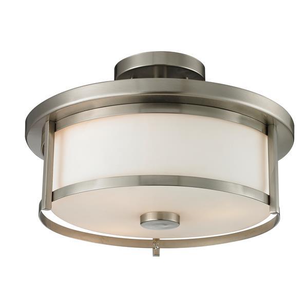 Z-Lite Savannah 2-Light Brushed Nickel 13.75-in x 13.75-in x 9.75-in Semi-Flush Mount