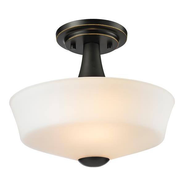Z-Lite Montego 2-Light Bronze 12-in x 12-in x 9.75-in Semi-Flush Mount