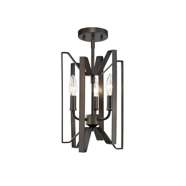 Z-Lite Marsala 3-Light Bronze 9-in x 9-in x 14-in Semi-Flush Mount