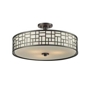 Z-Lite Elea 3-Light Bronze 20.50-in x 20.50-in x 10.50-in Semi-Flush Mount