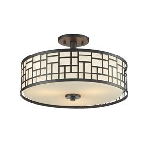 Z-Lite Elea 3-Light Bronze 16.25-in x 16.25-in x 10.25-in Semi-Flush Mount