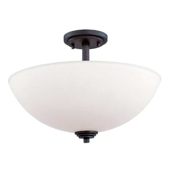 Z-Lite Chelsey 3-Light Bronze 15.75-in x 15.75-in x 11.25-in Semi-Flush Mount