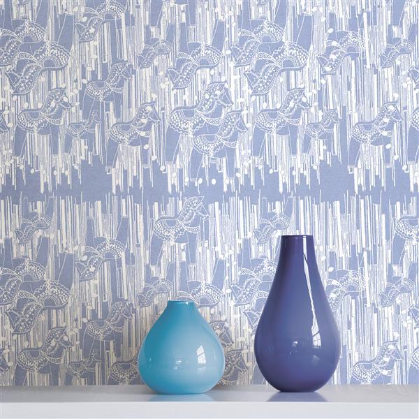 Brewster Wallcovering Blue/Blue Dala Wallpaper 20.5-in