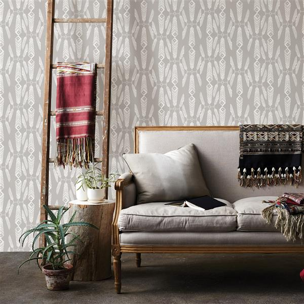 Brewster Wallcovering Grey/Grey Lainey Wallpaper Feather 20.5-in