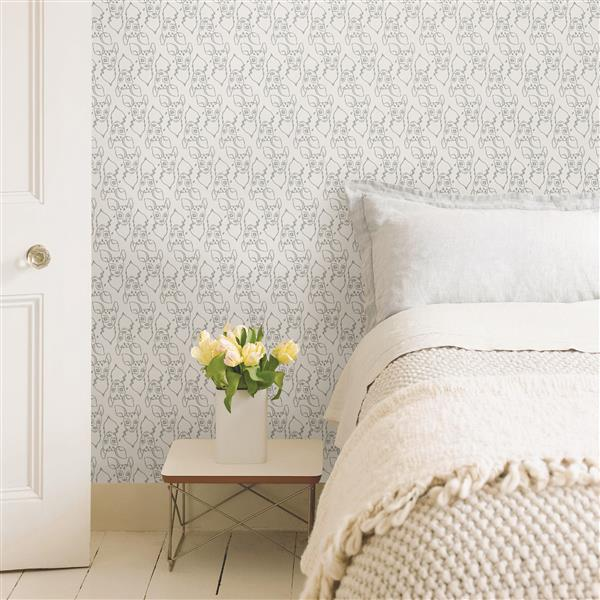Brewster Wallcovering White Patterned Non-Woven 20.5-in Oh Deer Unpasted Wallpaper
