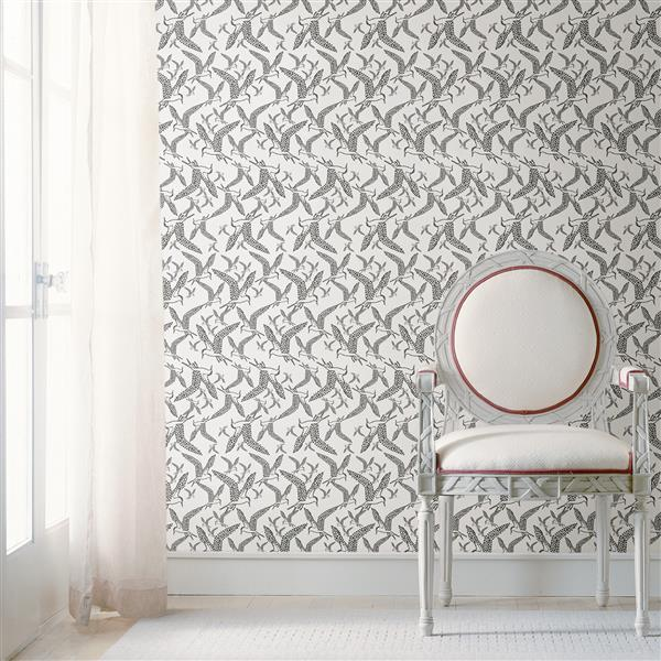 Brewster Wallcovering White/White Lari Bird Wallpaper 20.5-in