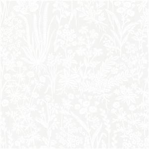 """Papier peint botanique Brianne, 20,5"""", gris"""