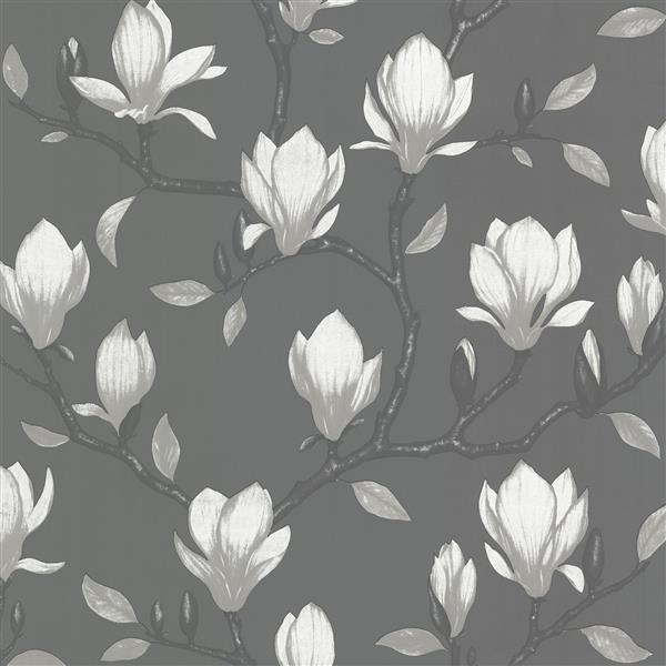 Brewster Wallcovering 20.5-in Dark Grey Grandiflora Unpasted Wallpaper