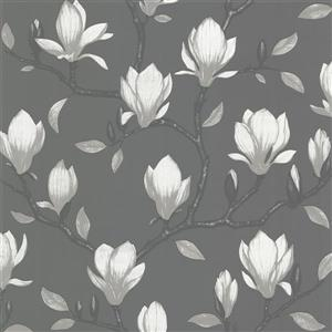 Brewster Wallcovering 20.5-in Dark Grey Grandiflora Unpasted Wallpaper