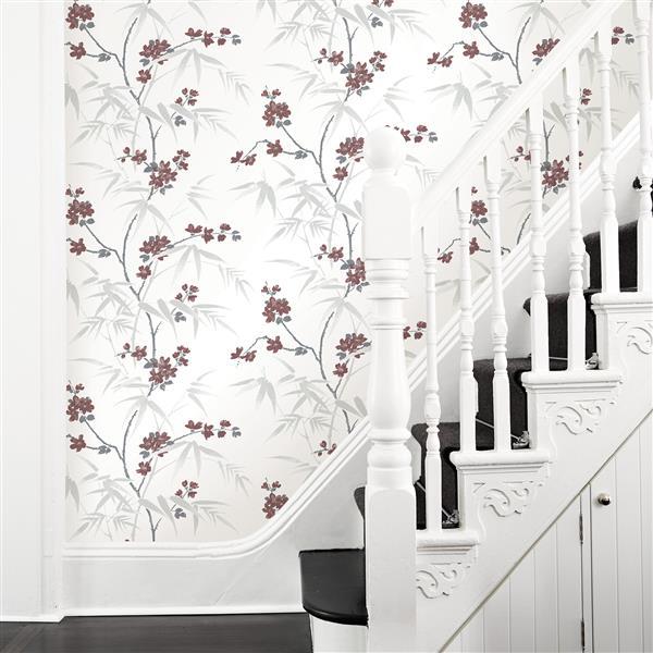 Brewster Wallcovering Wall Republic Yoshino Cherry Blossom 62.8 sq ft White Unpasted Wallpaper