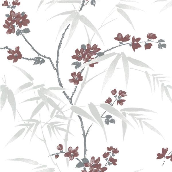 """Papier peint Yoshino fleur de cerisier, 20,5"""", blanc"""