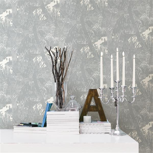 Brewster Wallcovering Light Gray Moominvalley Non-Woven Unpasted Wallpaper